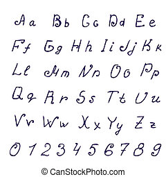 Handwritten ink alphabet