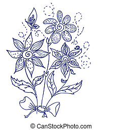 hand-drawing flower doodle