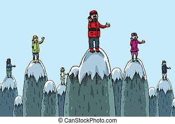 Mountaintop Phone Conversation - Cartoon people talk on...