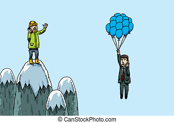 Mountaintop Phone Conversation - A cartoon climber has a...