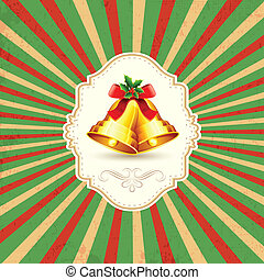 Christmas Bell - illustration of Christmas bell on abstract...