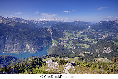 Konigssee lake view - Konigssee lake in Bavarian Alps,...