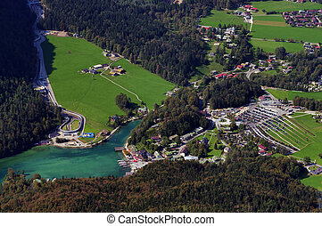 mountain resort and lake - aerial view of Konigssee lake in...