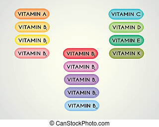 vitamins set - Illustration of vitamins set