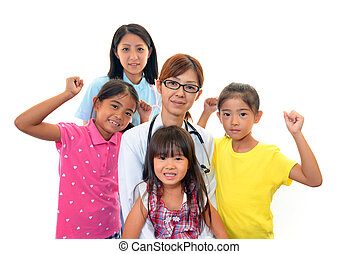 Little girls and Medical staff