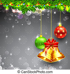 Christmas Bell - illustration hanging christmas bell and...