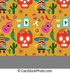 Mexico - vector pattern with icons and illustrations