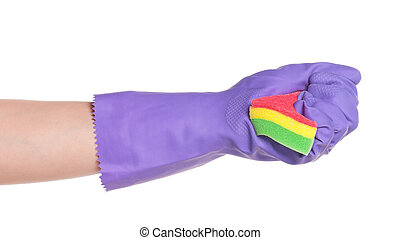 Rubber glove - One hand in rubber glove with sponge isolated...