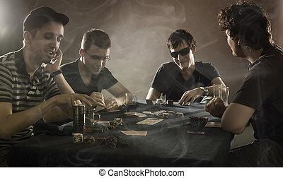 4 guys playing poker