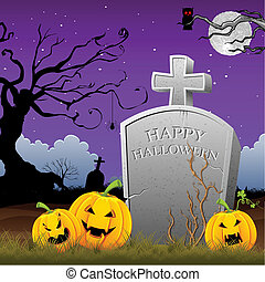 Pumpkin around Tomb Stone - illustration of pumpkin around...