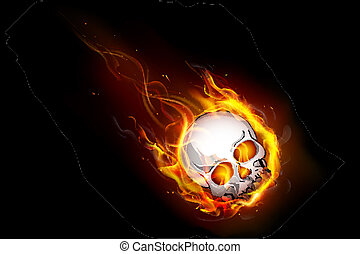 Fiery Skull - illustration of skull falling with fire flame