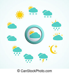 3d button with Weather icons set. Vector 