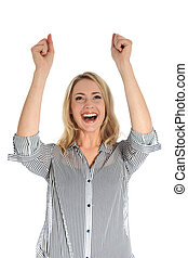 Joyful woman with arms raised - Studio shot of joyful woman...