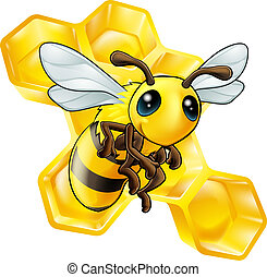 Cartoon bee with honeycomb - An illustration of a smiling...