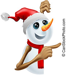 Happy snowman in Santa hat pointing