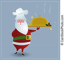 Chef Santa - Santa with chefs hat, holding golden serving...