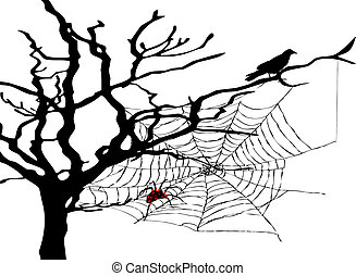 web spider - old tree with black raven and web spider
