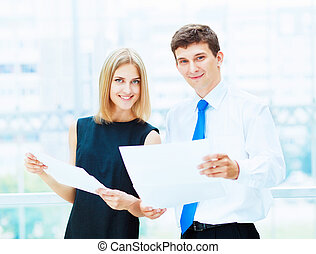 Two young business collegues - Two young business collegue...