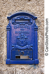 blue italian mailbox in the city of Palermo,Sicily - Front...