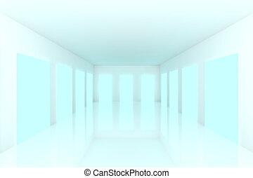 White Empty room with blue door