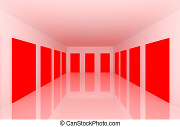 White Empty room with red door - White Empty room with...