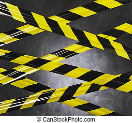 Don't Go There! - Black and yellow plastic barrier tape...