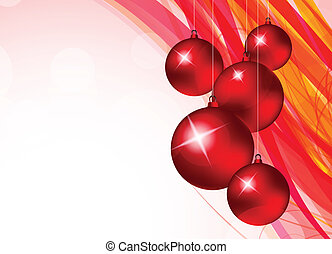 Xmas background with red balls and pink lines