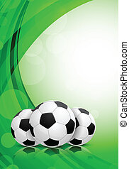 Background with soccer balls. Abstract green background