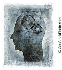 Inner Workings of the Human Mind - Grunge illustration of a...