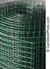 Wire Mesh - Coated green metallic wire mesh used in...
