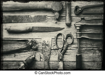 Old tools - A collection of old rusty tools with grunge...