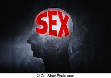 """Thinking about Sex - Word """"Sex"""" glowing on a man's head..."""
