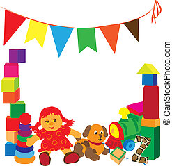 bright frame with toys