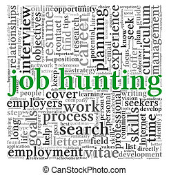 Job hunting concept in word tag cloud - Job search concept...