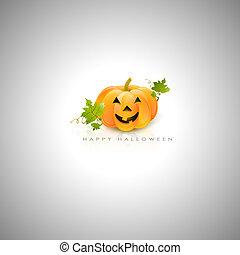 Happy Halloween - Halloween Pumpkin With Green Leaves and...