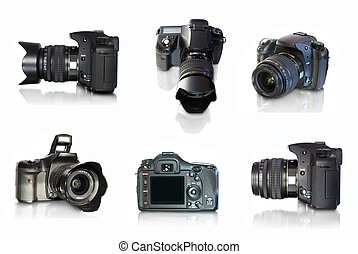 photo camera - Digital photo camera on white background