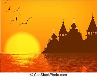 Church Cupola Silhouette and Sunset - Religion Scenery with...