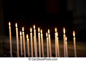 Closeup of votive candles