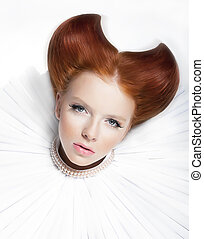 Red haired freckled actress in white pearly collar and jabot...