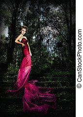 hermoso, ninfa, rubio, escalera, misterioso, bosque
