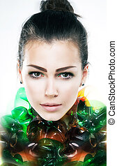 Art portrait of young attractive girl brunette close up -...