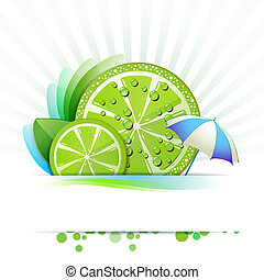 Slice of lime with umbrella