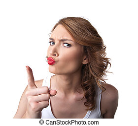 comic woman in tank top show finger attention - funny woman...