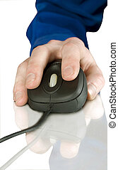 computer mouse -  black computer mouse and hand