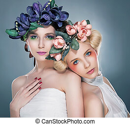 Two beautiful girls - fashion fairy tale style - Two...