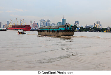 Bangkok landscape with Chaopraya river and building...