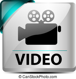 Video download buttonicon - Design of a glossymetallic video...