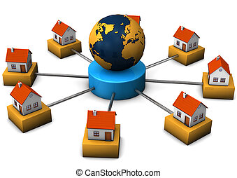 House Connection - Connected houses with the globe. White...