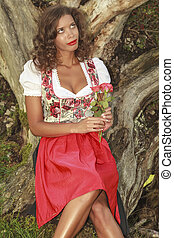 Bavarian Romance - Brazilian woman in Bavarian dress with...