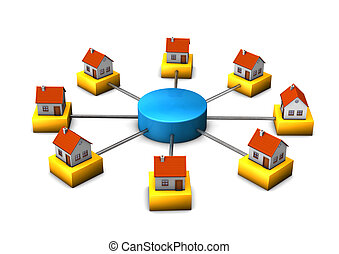 Connected Homes - 3d illustration of connected houses. White...